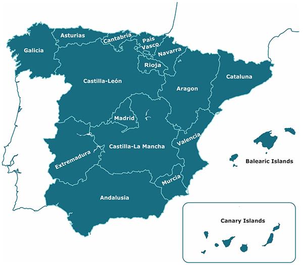 Regional Map Of Spain.Kingdom Of Spain Fat Birder